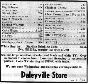 Daleyville Store Ad 1964